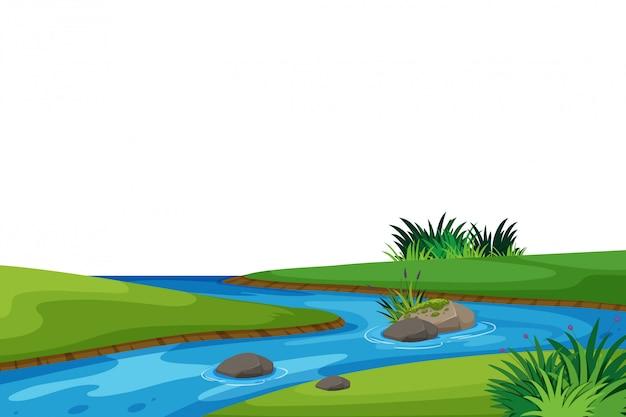 Fond de paysage avec champ rivière et vert Vecteur Premium