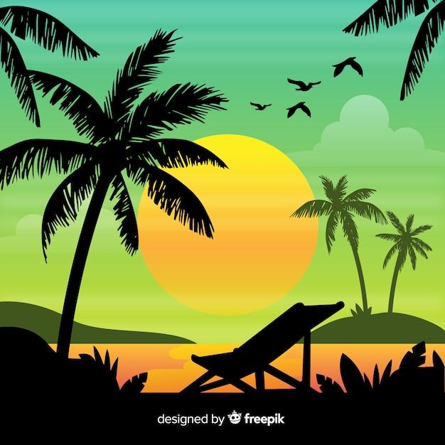 Fond de paysage coucher de soleil dégradé plage Vecteur gratuit