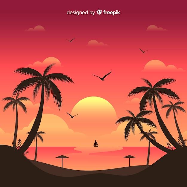 Fond de paysage coucher de soleil plage Vecteur gratuit