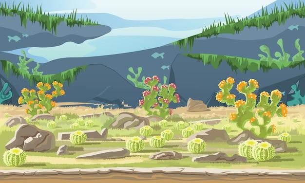 Fond de paysage avec désert et cactus Vecteur Premium