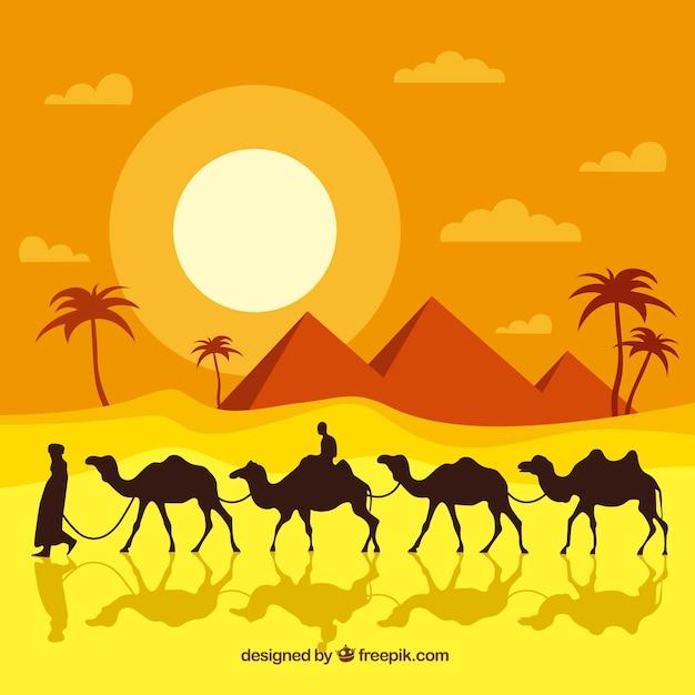 Fond de paysage désertique egypte dans un design plat Vecteur gratuit