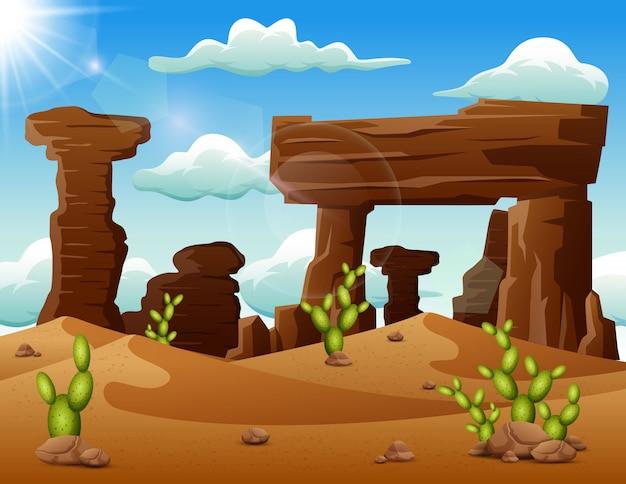 Fond de paysage désertique avec des roches et des cactus Vecteur Premium