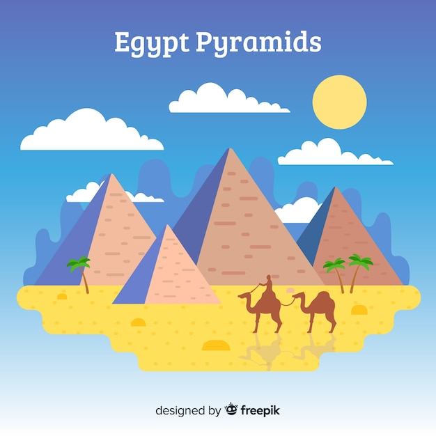 Fond de paysage égyptien avec des pyramides et des chameaux Vecteur gratuit