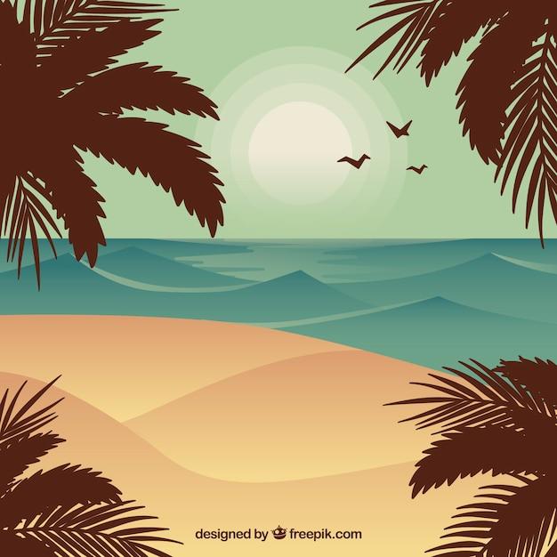 Fond de paysage d'été en design plat Vecteur gratuit