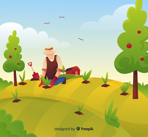 Fond de paysage de ferme de dessin animé Vecteur gratuit