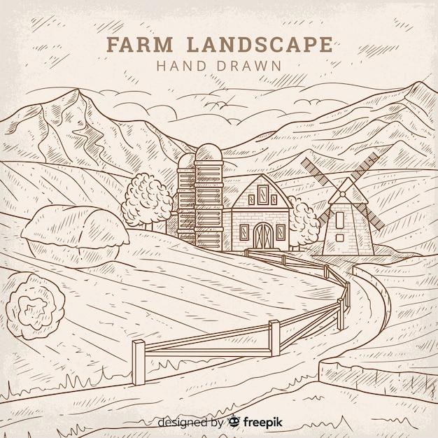 Fond de paysage de ferme dessiné main incolore Vecteur gratuit