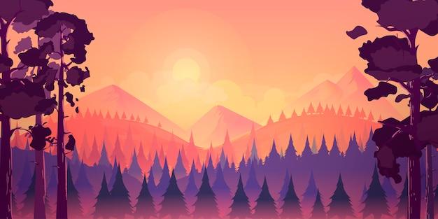 Fond de paysage de forêt et de montagnes Vecteur Premium