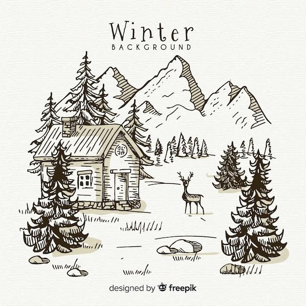Fond de paysage hiver dessiné à la main Vecteur gratuit