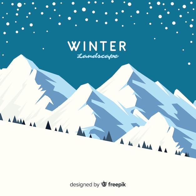 Fond de paysage d'hiver magnifique Vecteur gratuit