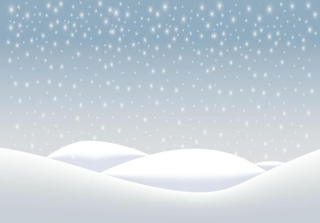 Fond De Paysage D'hiver Naturel Avec De Fortes Chutes De Neige, Des Flocons De Neige Sous Diverses Formes Et Formes, Congères Vecteur Premium