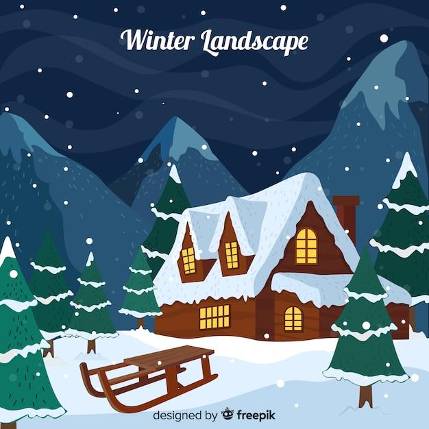 Fond de paysage d'hiver Vecteur gratuit