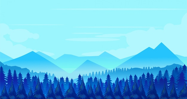 Fond de paysage d'hiver Vecteur Premium