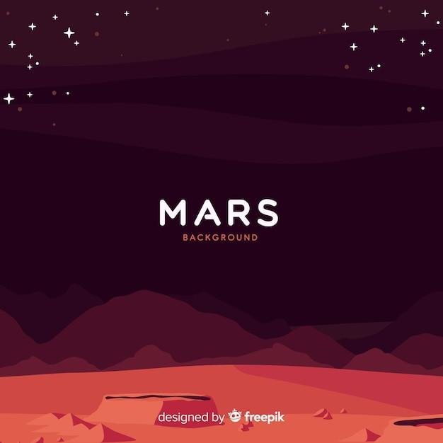 Fond de paysage de mars avec design plat Vecteur gratuit