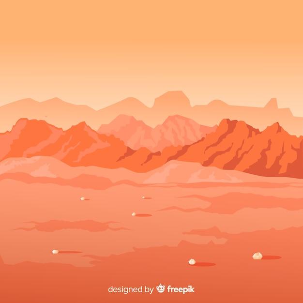 Fond de paysage de mars Vecteur gratuit