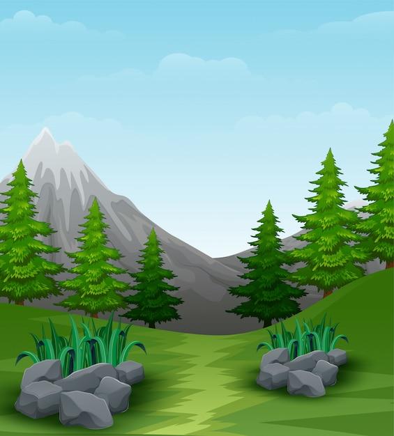 Fond de paysage avec des montagnes Vecteur Premium