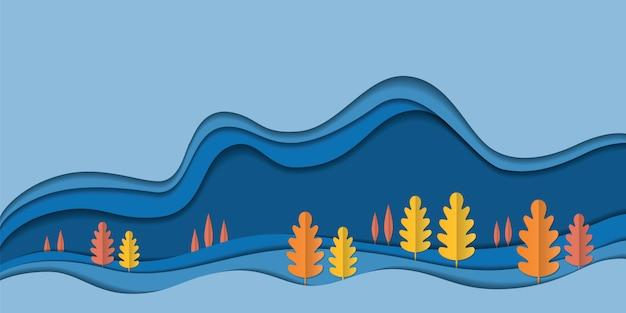 Fond de paysage nature automne, feuilles de papier arbre, bannière de vente saison automne, affiche de thanksgiving, papier découpé art, illustration vectorielle. écologie sauver l'idée de conservation de l'environnement forestier Vecteur Premium