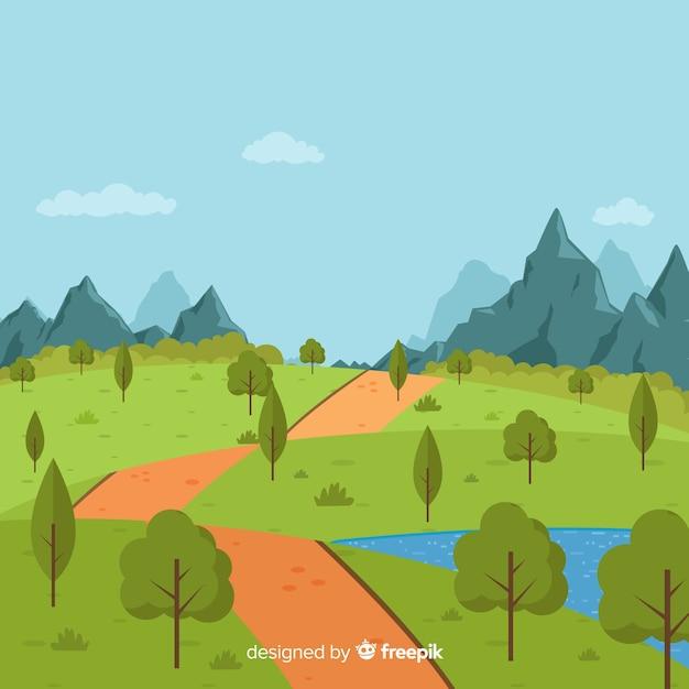Fond de paysage naturel design plat Vecteur gratuit