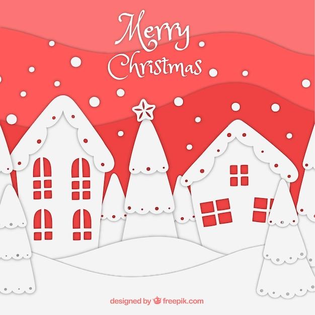 Fond De Paysage De Noël Dessiné à La Main Vecteur gratuit