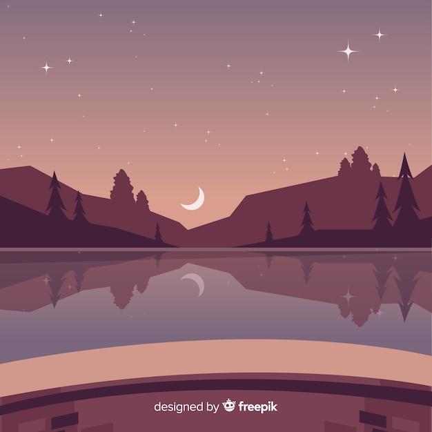 Fond de paysage de nuit étoilée Vecteur gratuit