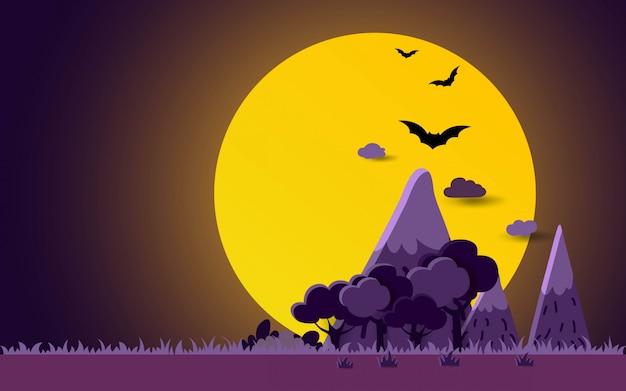 Fond de paysage de nuit de halloween Vecteur Premium