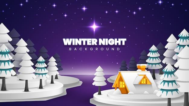 Fond De Paysage De Nuit D'hiver Vecteur Premium