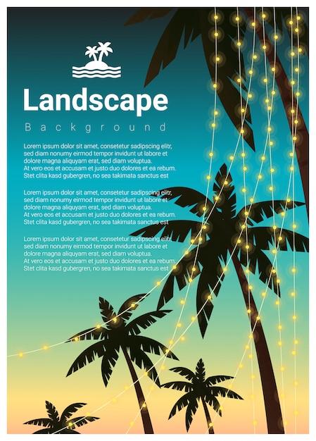 Fond de paysage avec des palmiers à la fête de la plage tropicale Vecteur Premium