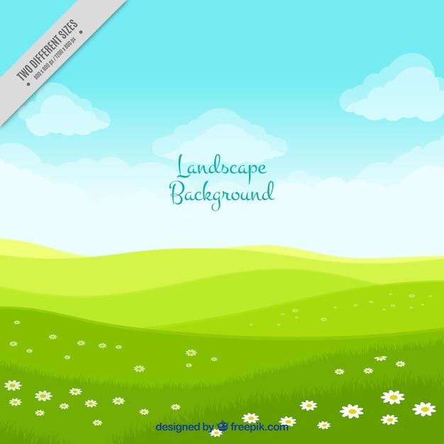 Fond de paysage avec prairie verte Vecteur gratuit