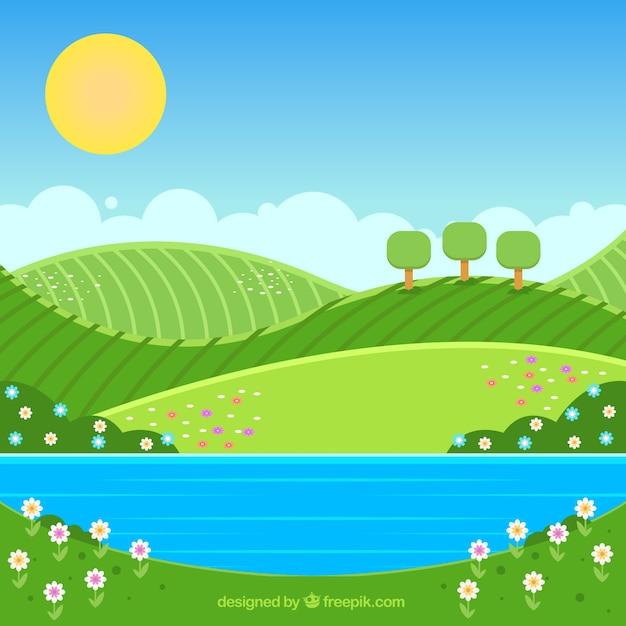 Fond de paysage de printemps Vecteur gratuit