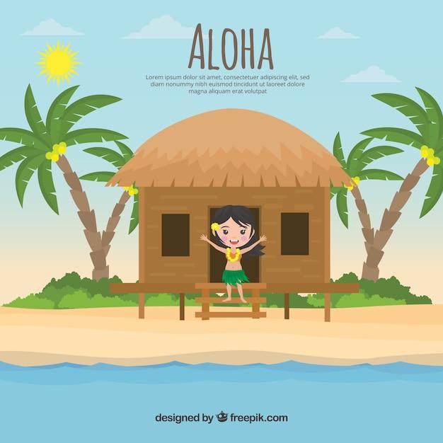 Fond de paysage tropical avec une fille dans un chalet Vecteur gratuit