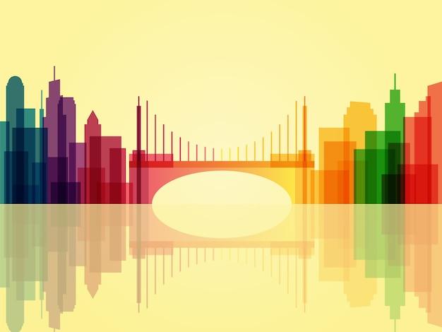 Fond De Paysage Urbain Transparent élégant Avec Pont Et Réflexion Vecteur Premium