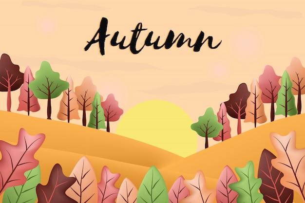 Fond de paysages d'automne Vecteur Premium