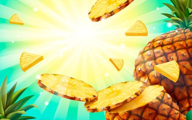 Fond De Peapple, Papier Peint De Fruits De Style été Volant Chair D'ananas Et Motif Rayé Vecteur Premium