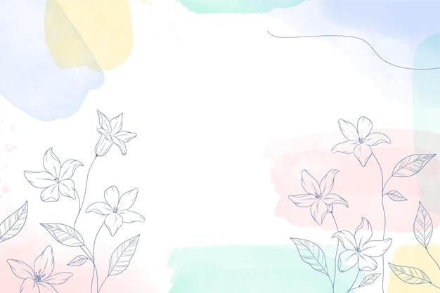 Fond Peint à L'aquarelle Avec Des Fleurs Dessinées à La Main Vecteur Premium