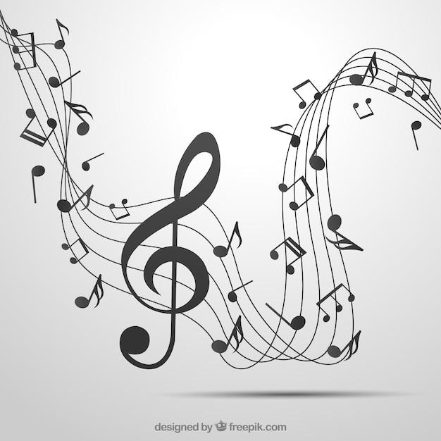 Fond pentagramme gris et clef triple avec notes musicales Vecteur gratuit