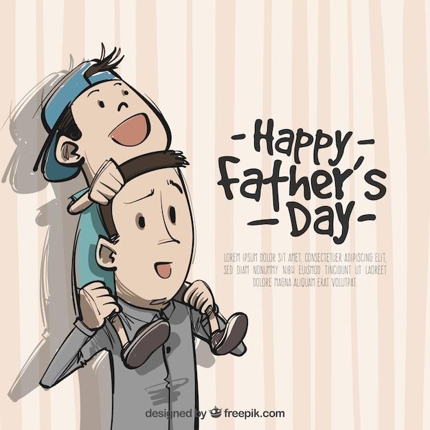 Fond de père avec son fils sur les épaules Vecteur gratuit