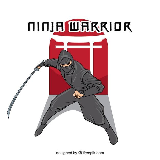 Fond de personnage ninja dessinés à la main Vecteur gratuit