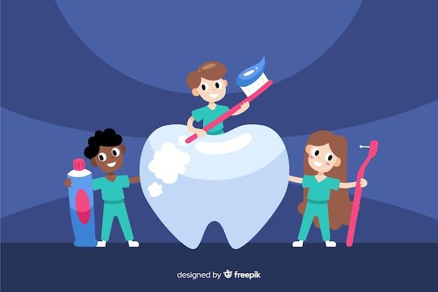 Fond De Personnages De Dentiste Vecteur gratuit
