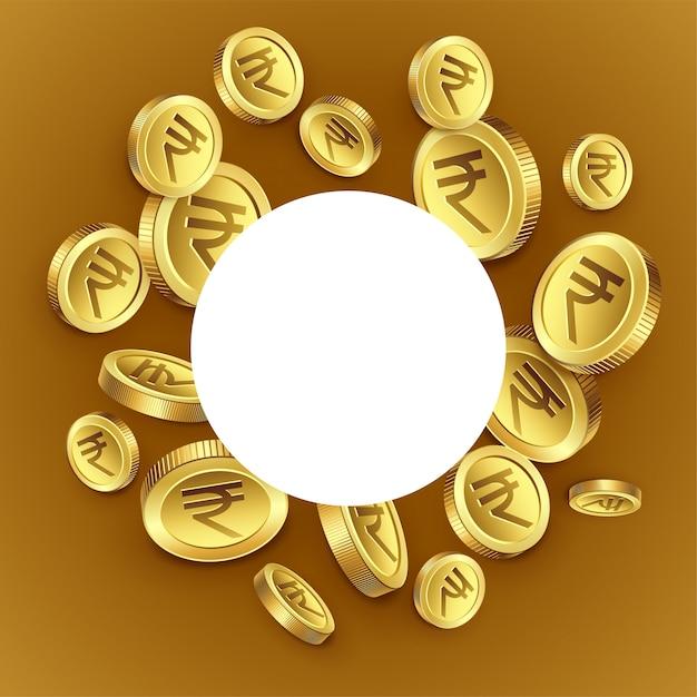 Fond de pièces d'or de la roupie indienne Vecteur gratuit