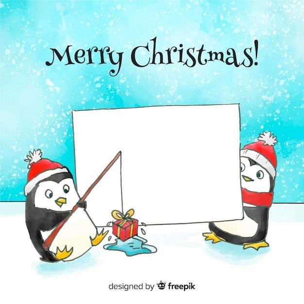 Fond de pingouins aquarelle Vecteur gratuit