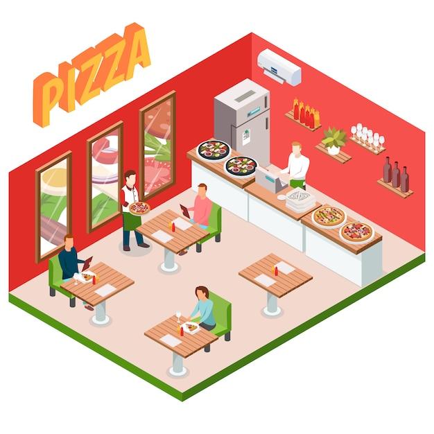 Fond de pizzeria isométrique Vecteur gratuit