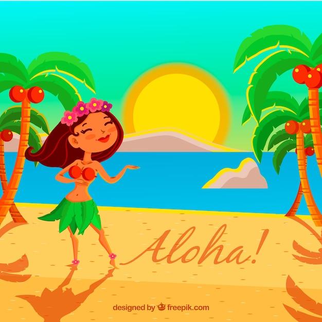 Fond de plage avec une fille hawaïenne Vecteur gratuit