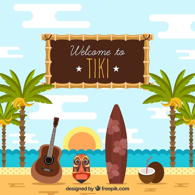 Fond de plage avec des palmiers et un masque tiki Vecteur gratuit
