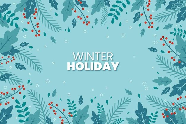 Fond De Plantes D'hiver Design Plat Vecteur gratuit