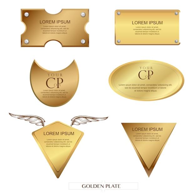 Fond de plaque dorée et espace copt, style rétro Vecteur Premium