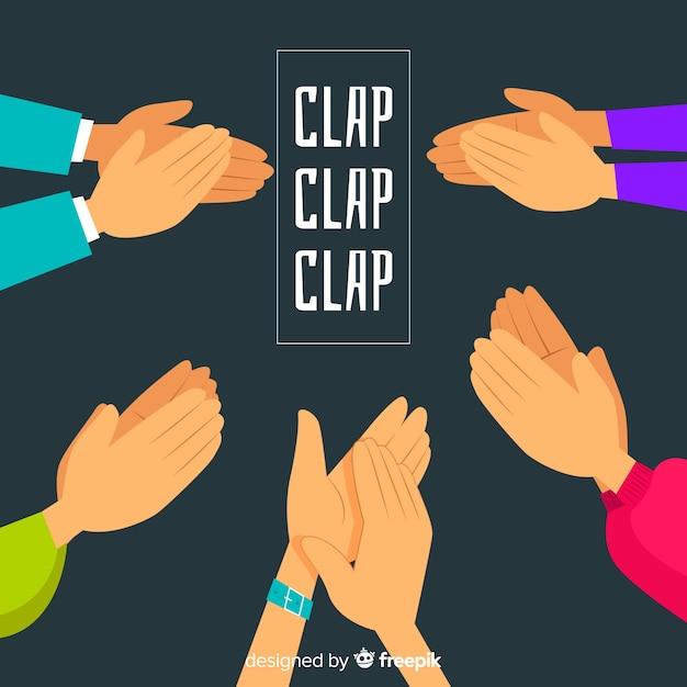 Fond plat d'applaudissements colorés Vecteur gratuit