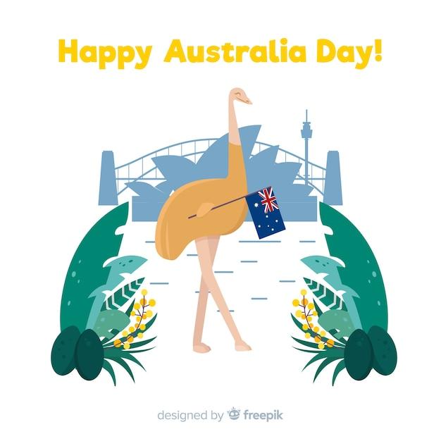 Fond plat australie jour Vecteur gratuit