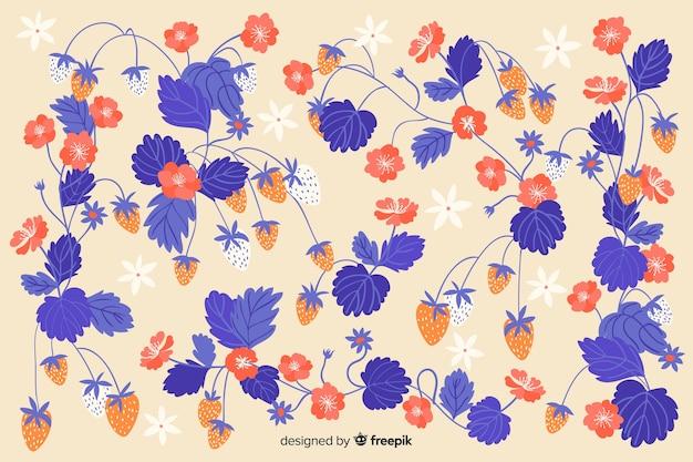 Fond Plat De Belles Fleurs Bleues Vecteur gratuit