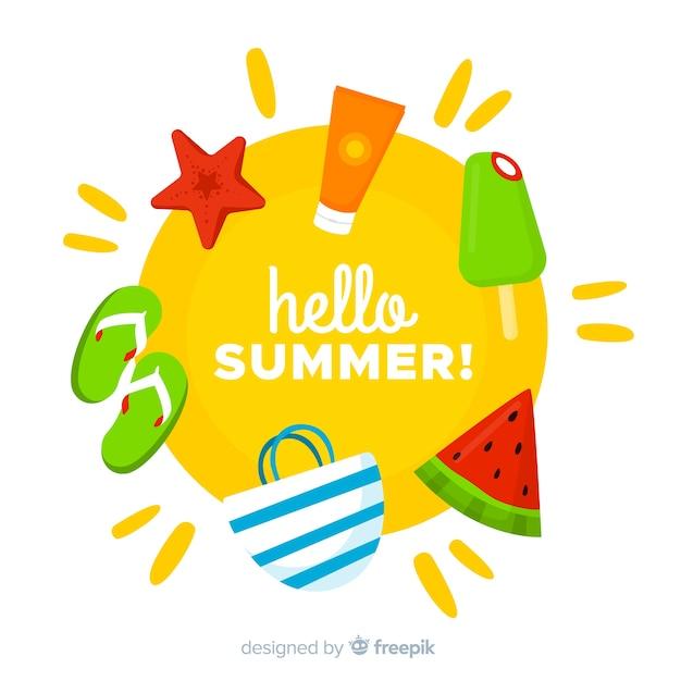 Fond plat bonjour l'été Vecteur gratuit