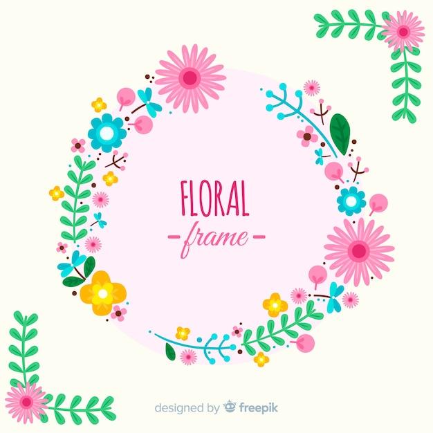 Fond plat cadre floral Vecteur gratuit