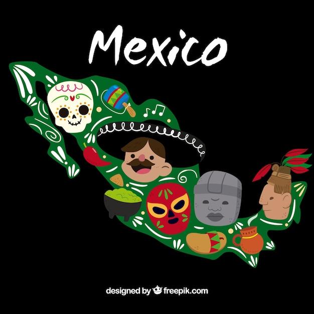 Fond plat carte mexicaine avec des éléments Vecteur gratuit